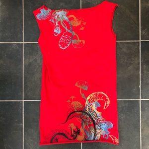 Red screen printed tunic